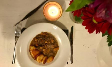 Pheasant, partridge and venison stew.