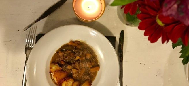 Pheasant, partridge and venison stew.