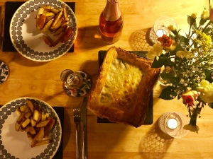 Venison and mushroom pie.