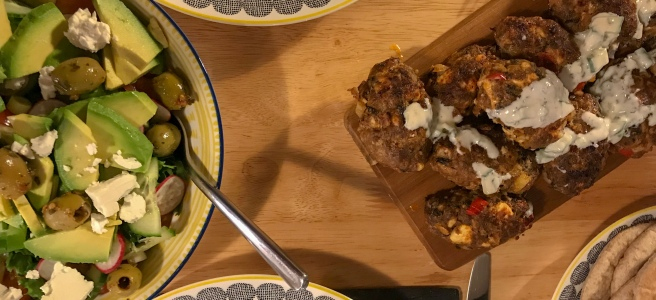 Spicy lamb and feta koftas