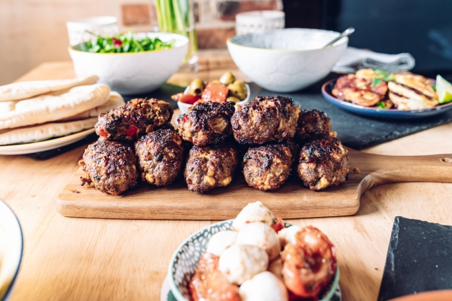 Lamb and feta koftas. Mediterranean feast by Gemma and Life blog. Food blogger. Essex.