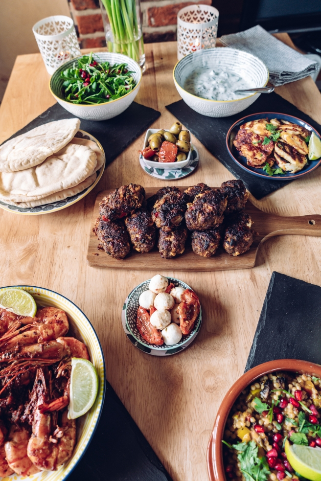 Koftas. Tiger prawns. Giant cous cous. Mediterranean feast by Gemma and Life blog. Food blogger. Essex.