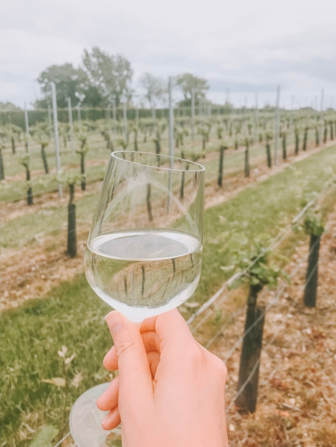 Bacchus wine from Toppesfield vineyard