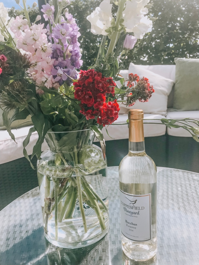 Flowers and wine. Toppesfield vineyard.
