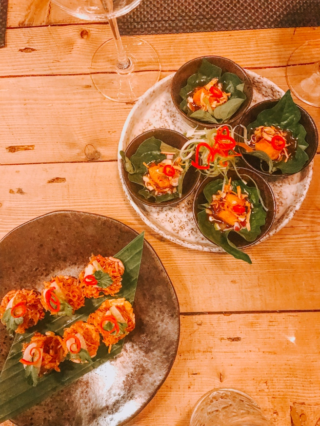 Betal leaf salmon and duck and lychee bites. Giggling squid. Essex food blog.