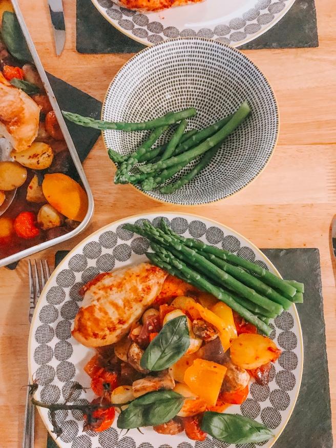 Chicken traybake and veg. Essex food blogger.