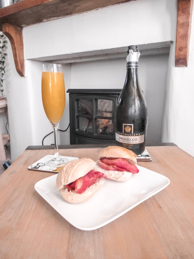 Bacon rolls and bucks fizz